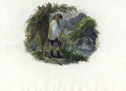 HAMILTON/TOMKIN'S FISHING SCENE - A VIGNETTE TO SUMMER - 1797 fishing print
