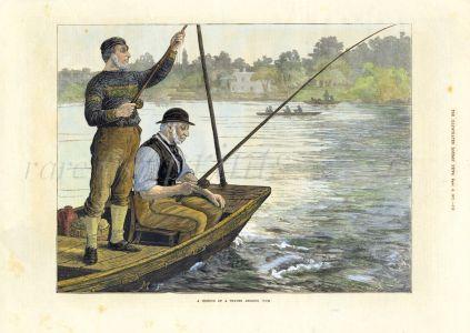 A MEMBER OF THE THAMES ANGLING CLUB  fishing print 1873