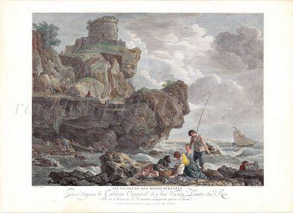 VERNET: LES PECHEURS DES MONTS PYRENEES - THE FISHERMEN OF THE PYRENEES - fishing print  1790