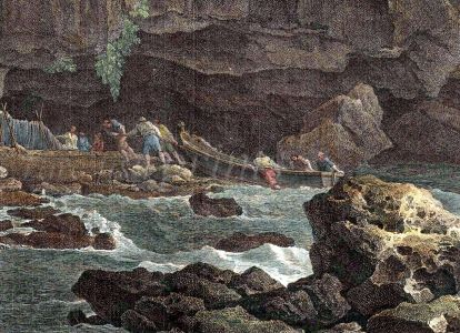 LES PECHEURS DES MONTS PYRENEES - fishing print - detail.
