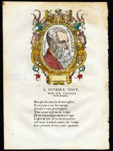 L'HISTOIRE ENTIRE DE POISSONS 1558  - RONDELET portrait woodcut engraving