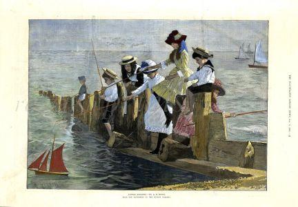 LITTLE ANGLERS sea fishing print (1886)