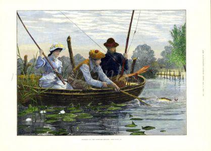 FISHING ON THE NORFOLK BROADS fishing print 1885